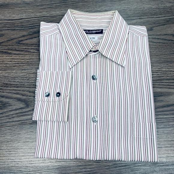 Dolce & Gabbana White w/ Red & Tan Stripe Shirt L
